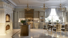 Luxurious baroque kitchen and dining room Royalty Free Stock Image