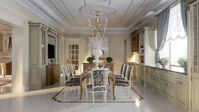 Luxurious baroque kitchen and dining room Stock Images