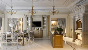 Luxurious baroque kitchen and dining room Royalty Free Stock Photos