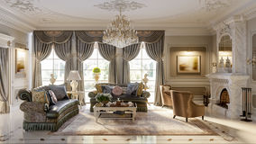Luxurious baroque living room. In large classic style house with large marble fireplace, marble floors and ceiling decorated with molded ornaments. 3d render Stock Photos