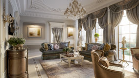 Luxurious baroque living room Royalty Free Stock Image
