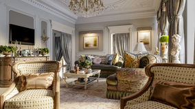 Luxurious baroque living room Royalty Free Stock Photography