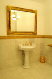 Luxurious bathroom. Interior details of luxurious bathroom with large mirror and hand basin Stock Images