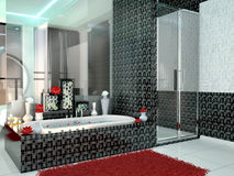 Luxurious bathroom in black and white colors. Stock Photography