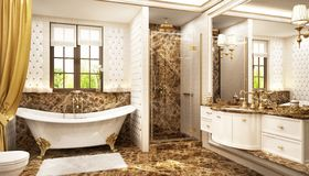Luxurious bathroom in classic style. Luxurious bathroom with bath and window stock photo
