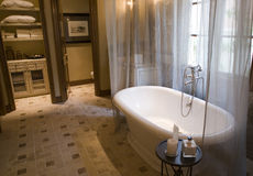 Luxurious bathroom with a classic tub. Designer bathroom with a classic tub and tile floor Royalty Free Stock Photo