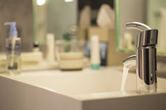 Luxurious Bathroom close-up - Water drop from faucet Royalty Free Stock Photo
