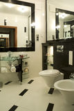 Luxurious bathroom interior. Close up of luxurious bathroom with toilet and bidet royalty free stock photo