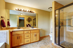 Luxurious bathroom interior with glass shower and two sinks Stock Photography