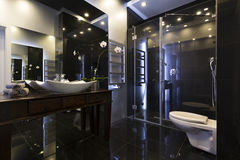 Luxurious bathroom interior. With shower and dark tiles stock photo