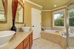 Luxurious bathroom interior in warm beige color Royalty Free Stock Images