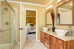 Luxurious bathroom interior in warm beige color Stock Photo