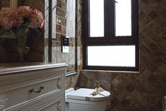 Window in the toilet, decorate luxurious, let family at ease Stock Images