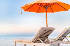 Tranquil scenery, relaxing beach, tropical resort landscape design. Summer vacation travel holiday design stock images