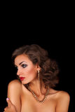 Luxurious beautiful brunette woman royalty free stock photos