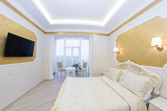 Luxurious bed with cushion in royal bedroom Royalty Free Stock Photography