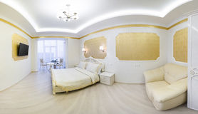 Luxurious bed with cushion in royal bedroom interior Royalty Free Stock Image