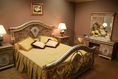 Luxurious bedroom. With lamps mirror stock photo