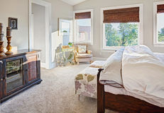 Luxurious Bedroom Detail. Bedroom in luxury home with outdoor view stock photography