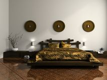 Luxurious bedroom in ethnic style Stock Photo