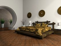Luxurious bedroom in ethnic style Stock Photos