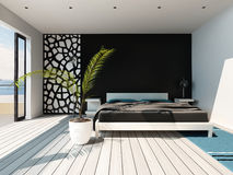 Luxurious bedroom interior with king-size bed Stock Photos