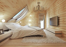 Luxurious bedroom in modern style, with a roof window in the log Stock Photo