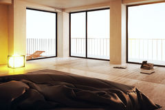 Luxurious bedroom with panoramic view Royalty Free Stock Photo