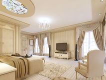 Luxurious bedroom in pastel colours in a neoclassical style. Luxurious bedroom in pastel colours in a neoclassical style, with a large bed and a dressing table Royalty Free Stock Photos