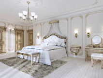 Luxurious bedroom in white colors in a classic style. Stock Photography