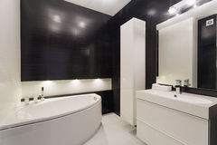 Luxurious black and white bathroom Stock Photography
