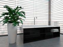 Luxurious black and white bathtub against window Royalty Free Stock Photo