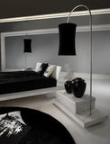 Luxurious Black and White Bedroom Stock Image