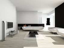 Luxurious black and white living room interior Stock Photos