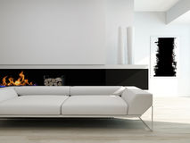 Luxurious black and white living room interior Stock Photo