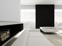 Luxurious black and white living room interior Stock Image