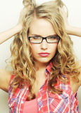 Luxurious blonde with curly hair Stock Image