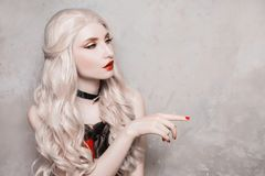 Luxurious blonde woman with beautiful long white hair stock photos