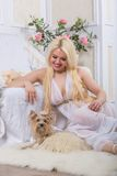 Luxurious blonde woman in a white dress with a dog  pekingese Royalty Free Stock Image