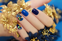 Luxurious blue manicure. Stock Images