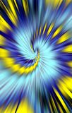 Luxurious blue spiral on yellow background. Vector. Abstract unique background. Blue, yellow and black colors on a picture. Blurred effect vector illustration