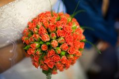 Bouquet of flowers in the hands of the bride royalty free stock photography
