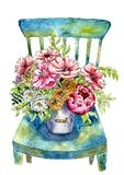Luxurious bouquet of flowers in a bucket on a chair. Painted in watercolor vector illustration