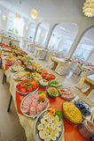 Luxurious breakfast buffet. Assortment of different traditional Swedish breakfast food at buffet in dining room Stock Image