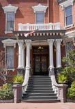 Luxurious brick home entrance stock photos