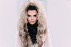 Luxurious brunette in a fur coat stock photography
