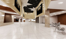 Luxurious building lobby. 3d visual representation of a luxurious modern building lobby stock photo