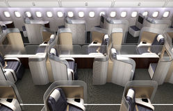 Luxurious business class cabin interior. Each seat divided by frosted acrylic partition. 3D rendering image in original design Royalty Free Stock Image