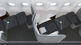 Luxurious business class cabin interior with frosted acrylic partition stock video footage