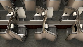 Luxurious business class cabin interior with metallic gold partition stock footage